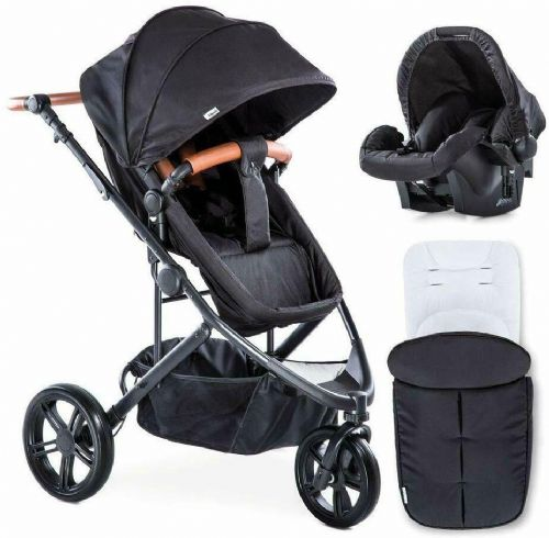 Hauck Pacific 3 Travel System 2 Way Facing Pushchair+CarSeat+Raincover+Footmuff In Melange Charcoal